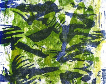 Original print - Blue and green giclee - LIMITED EDITION of 9
