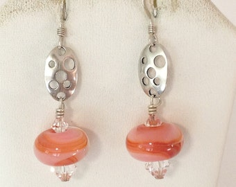 Swiss Cheese & Pink Orange Swirl Pierced Earrings 925 Sterling Silver gw15-469