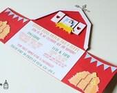 Barnyard Party - Barn Invitations - Barn Invitation - Farm Invitations - Birthday - Custom Order Available - 10/pack