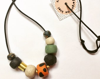 Polymer clay necklace, Jungle fever