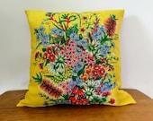 Vintage Linen Cushion Cover: Australian Wildflowers! 1980s cushion cover, retro cushion, Floral cushion, yellow cushion, upcycled tea towel