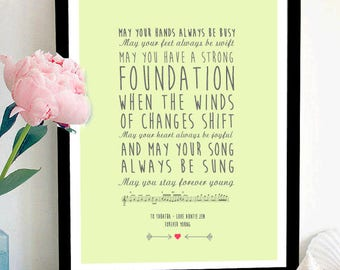 Forever Young Song Lyrics Print Poem Personalised Custom
