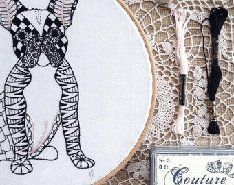 Embroidery pattern, pdf, embroidery designs, hand embroidery, sewing pattern, dog, french bulldog, embroidery hoop art, stitch, bulldog