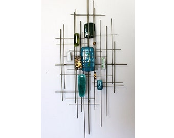 Mid Century Modern Brass and Enamel Brutalist Hanging Wall Sculpture