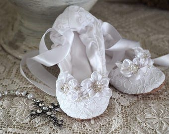 New! White Lace First Communion Princess Ballerina Slipper ~ First Communion Satin Ballet Shoe ~ Princess Flower Girl Ballet Flat