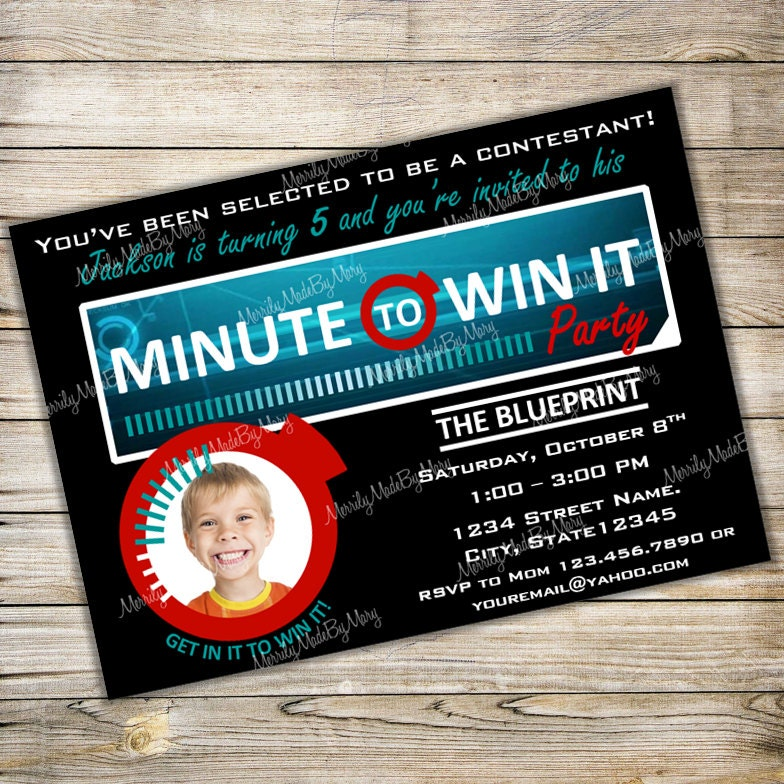 Minute To Win It Birthday Party Invitation