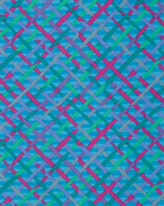 MAD PLAID Turquoise by Brandon Mably for Kaffe Fassett Collective Sold in 1/2 yd increments