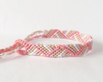 Macrame Bracelet Handmade Bracelet - Friendship Bracelet - Cotton Bracelet - Boho Hippie Pink Purple Aztec - Wish Bracelet - Friendship Gift