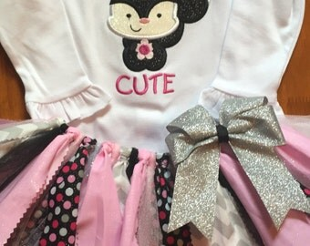 Pink, Black, and Silver So Stinkin' Cute Skunk Tutu Outfit