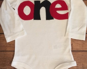 Red and Black Birthday Shirt or Baby Bodysuit