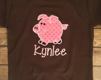 Pink and Brown Little Pig Embroidered Shirt or Baby Bodysuit