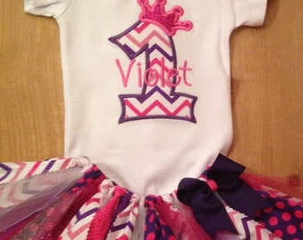 Pink and Purple Chevron Birthday Princess Tutu Outfit