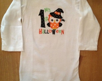 My 1st Halloween Witch Owl Embroidered Baby Bodysuit or Shirt
