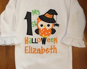 My 1st Halloween Witch Owl Shirt or Baby Bodysuit