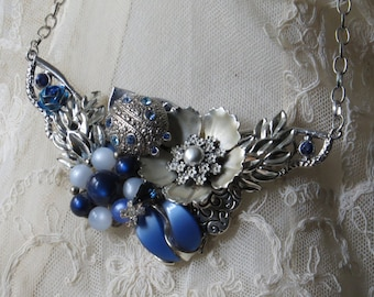 STUNNING STATEMENT NECKLACE/ Blue Dreams/ Rhinestones/Statement Jewelry/Necklace/Blue/Vintage Jewel