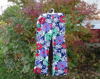 "SALE Vintage 1970s bell bottom pants hip huggers purple red green flowers 29"" waist 38"" hips (101216)"