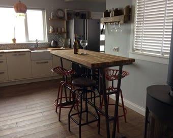 Solid Steel and Hardwood top long grain oak breakfast bar dining table