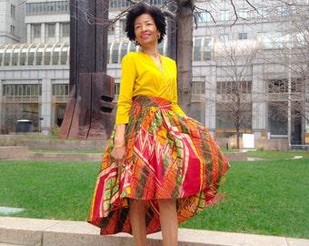Made to Order, African Print Skirt, Ankara Skirt, Raquel High-Low Skirt