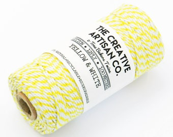 Yellow & White 12 Ply 2 Tone Bakers Twine//String//Cord//Cotton//5 Meters//10 Meters//20 Meters//Gift Wrap//DIY//Decoration//Crafts