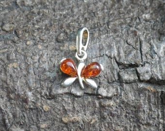 Sterling Silver Amber Butterfly Bug  Necklace Pendant Charm