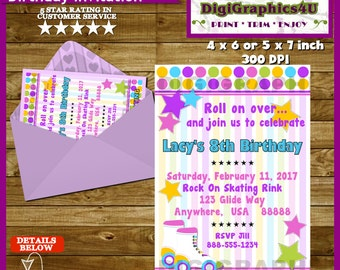 Rollerskating or Rollerskate Birthday Party Invitation for Girls- Personalized Printable File