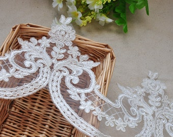 2 yards Iovry Alencon Lace Trim Luxury Wedding Lace Trim Embroidered Retro Bridal 5.9 Inches Wide