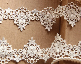 "2 yards Venice Lace Trim Ivory Alice Exquisite Floral Embroidery Wedding 1.96"" width"