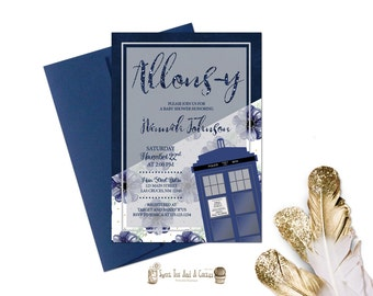 Doctor Who Baby Shower Invitation Tardis Invites Printable Digital File or Prints with Free Shipping Blue Floral and Glitter Sci-fi Geek