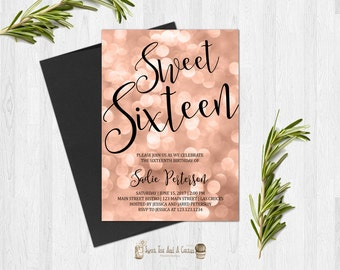 Rose gold Sweet Sixteen Birthday Invitation Sixteenth Birthday Invites Elegant Classy Digital File or Prints with Free Shipping