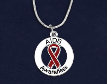 Round AIDS Awareness Ribbon Necklace in a Gift Box (1 Necklace) (RE-N-P35-6AI)