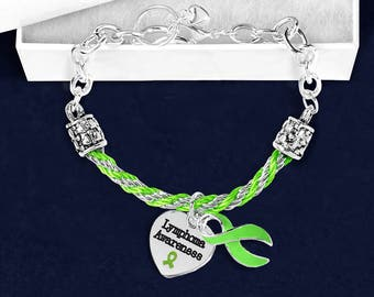 Lymphoma Lime Green Ribbon Partial Rope Bracelet in a Gift Box (1 Bracelet - Retail) (RE-B-18-9LY)