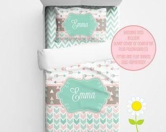 Personalized Tribal Arrow Comforter or Duvet Cover  - Coral & Mint Bedding for Girls - Arrow Duvet Set - Custom Comforter w/ Name for Teens
