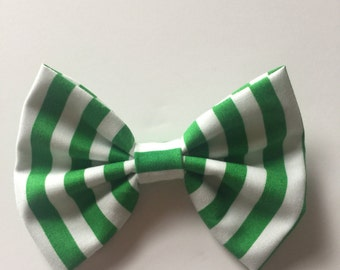Green and white stripe bow