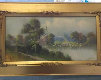 Antique Old American Pastel Drawing Painting Landscape Framed Original Americana