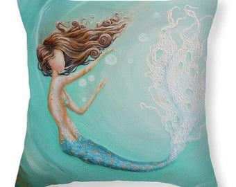 Mermaid decorative teal throw  pillow,  beach ocean house decor, mermaid lover gift, original painting by Nancy Quiaoit