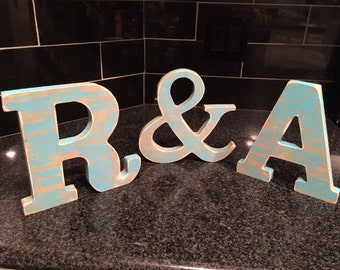 """3 - 8"""" Rustic Wooden letters /  Shaby chic rustic letters / Personalized wooden letters /  Distressed wooden letters"""