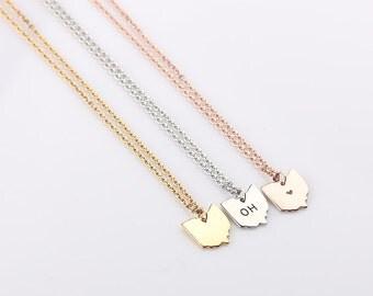 Tiny Ohio Necklace, Gold Ohio Necklace, Rose Gold Ohio State Charm State Necklace,  Silver Ohio Small State Charm