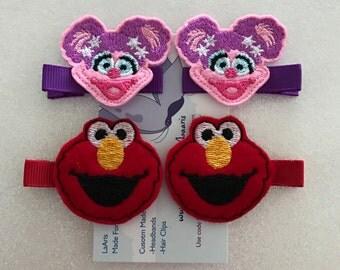 Elmo & Abby Cadabby Inspired Hair Clips