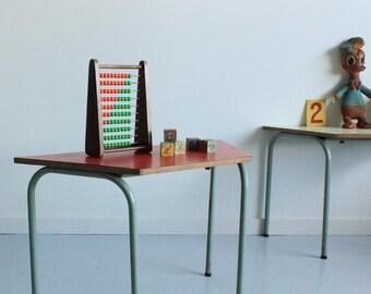 Vintage Kids Red Formica School Desk Table