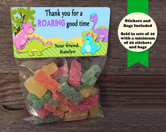 Dinosaur Treat Bags, Birthday Party Treat Bags, Dinosaur Party Favors, Dinosaur Sticker, Birthday Party Favors, Dinosaurs, Dinosaur Birthday