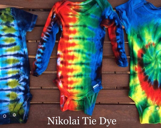 TWO Custom tie-dyed onesies