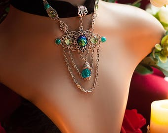 Mermaid Jewelry, Fantasy Jewelry Necklace, Fairy Jewelry, Blue Sea Necklace, Daenerys Targaryen Dragon Eggs Jewelry, Elven Jewelry Choker