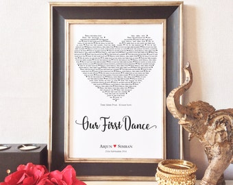 Personalised Our First Dance Print, Unique Gift, Wedding, Anniversary, Valentines, Heart, Indian, Bollywood, Word Art, FRAME NOT INCLUDED