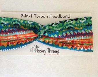 Green ans Blue Ikat Cotto Turban Headband