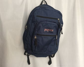 Jansport Backpack Navy Blue with Beige Pinstripe Vintage Zipper School Bag Bookbag
