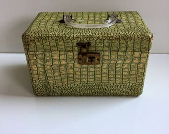 Vintage Train Case Faux Alligator Green and Yellow