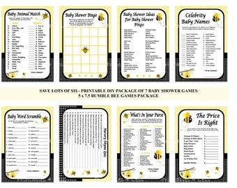 Bumble Bee Baby Shower Game, Printable Bee Game, Bee Shower Game, Bumble Bee Baby Game, Honey Bee Game, Bee Bingo - Printables 4 Less 0010