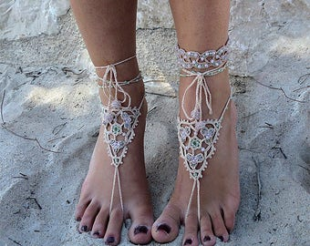 Barefoot sandals lace crochet.Three pieces Anklets + bracelet.Jewelery crochet for beach holiday.Boho style jewelry.Anklets crochet