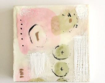 Small original abstract painting, 6x6,encaustic painting, watercolor painting, ready to hang art, abstract art, Mid Century decor