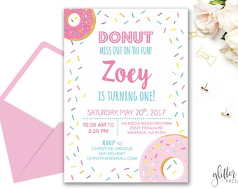 Donut Birthday Invitation Printable, Girl First Birthday Party Invite, Donut Miss out on the fun Invite, Custom Downloadable Birthday Invite
